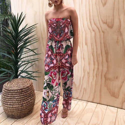Fashion Printing Flower Strapless Jumpsuit