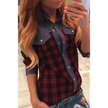 Classic Plaid Denim Spring Blouse