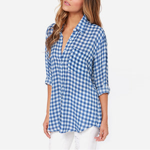Blue Plaid Printed POLO Collar Belt Long-Sleeved T-Shirt