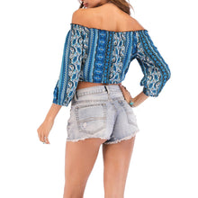 2018 Bohemian Style Printed Off Shoulder Blouse