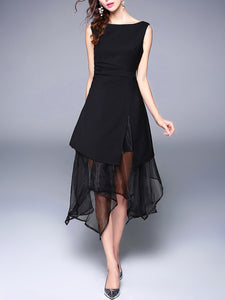 Asymmetric Hem Hollow Out Plain Round Neck Midi Skater Dress