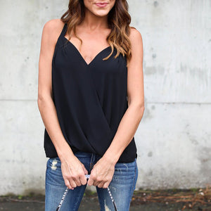 Chiffon Sleeveless Sexy V Collar Strap T-Shirt