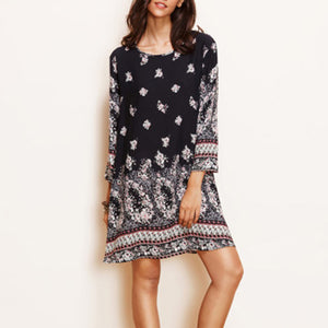 Bohemia Style Floral Printed Shift Dress