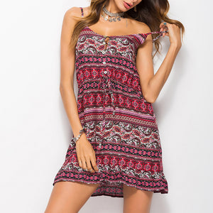 Bohemia Printing Strap Beach Vacation Dress