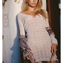 Bohemian Plain Hollow Long-Sleeved Bikini Smock