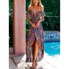 Bohemia V Collar Printing Irregular Strap Beach Dress Vacation