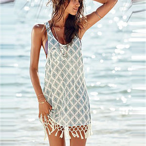 Bohemia Round Collar Tassel Digital Printing Strap Beach Vacation Dress