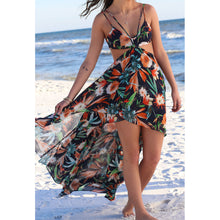 Bohemia Sexy Irregular Printing Strap Beach Vacation Dress