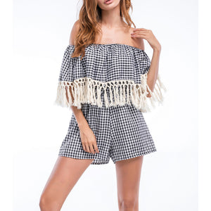 Bohemia Sexy Striped A Word Collar Tassel Jumpsuit