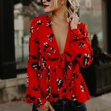 Bohemia Sexy Loose Deep V Collar Lacing Printing Shirt