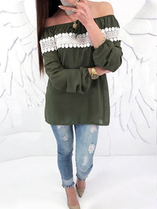 Boat Neck  Patchwork  Hollow Out Long Sleeve T-Shirts