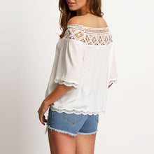 Casual Pure Color Off-Shoulder Lace Stitching Shirt