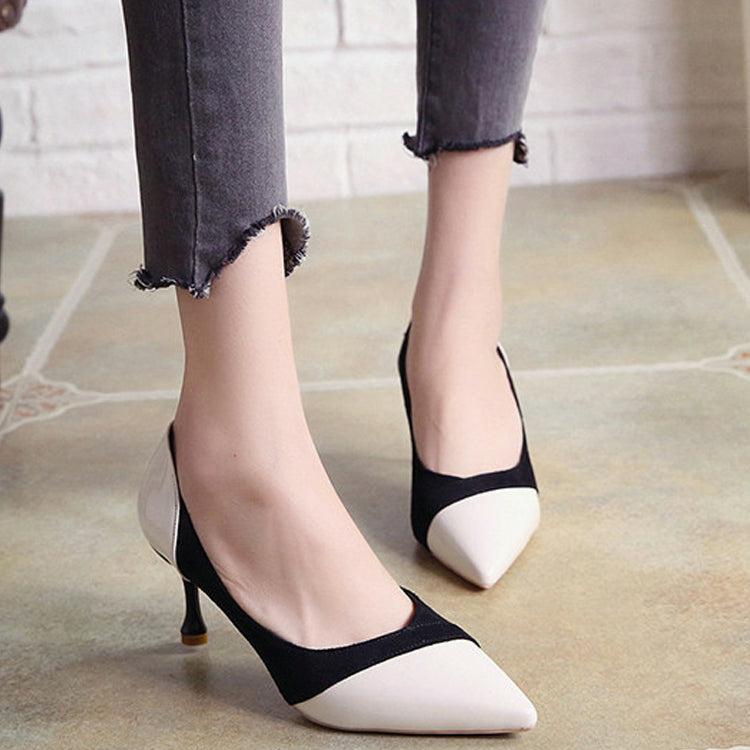 2018 Fashion Elegant Spell Color High Heel Shoes