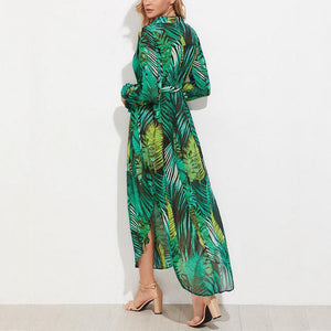 Bohemian Deep V Collar Printing Split Beach Vacation Dress
