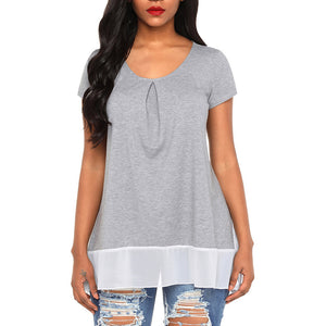 Casual Round Collar Stitching Chiffon T-Shirt