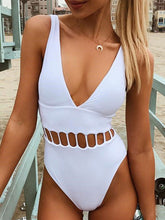 Deep V-Neck  Lightweight  High Stretch  Plain One Piece