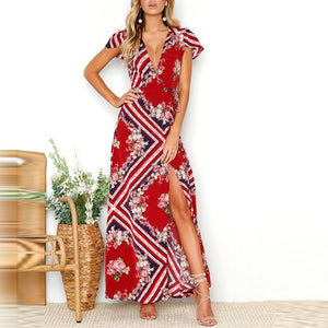 Bohemian V Collar Printing Split Vacation Dress