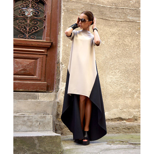 High Neck  Asymmetric Hem Patchwork  Half Sleeve Casual Dresses