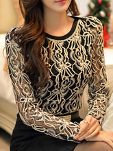 Women  Round Neck  Decorative Lace  Floral  Long Sleeve Blouses
