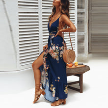 Bohemian Deep V Collar Sleeveless Backless Printing Vacation Dress