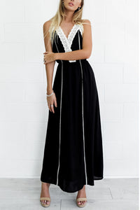 Black Bohemia Sexy Sleeveless Lace Maxi Dress