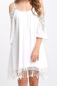 Casual Splicing Off Shoulder Lace Mini Dress