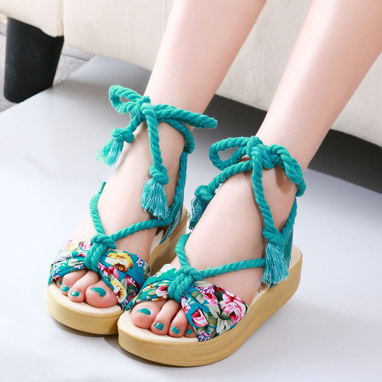 Casual Hemp Rope Tie Sandals