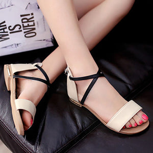 Casual Pure Color Cross Straps Zipper Sandals