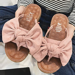 Casual Pure Color Sandals With Bow-Knot