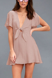Deep V Neck  Bowknot  Plain  Bell Sleeve  Short Sleeve Casual Dresses