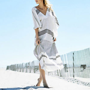 Bohemian Loose Stripe V Collar Maxi Beach Vacation  Dress