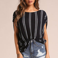 Classic Stripes Round Collar Backless Shirt