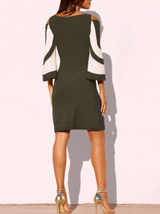 Boat Neck  Color Block Bodycon Dress