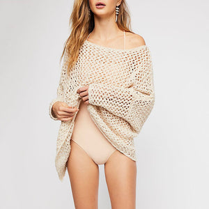 Casual Pure Color Knitting Hollow Beachwear