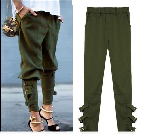 Pure Color Casual Strappy Trousers Pnats