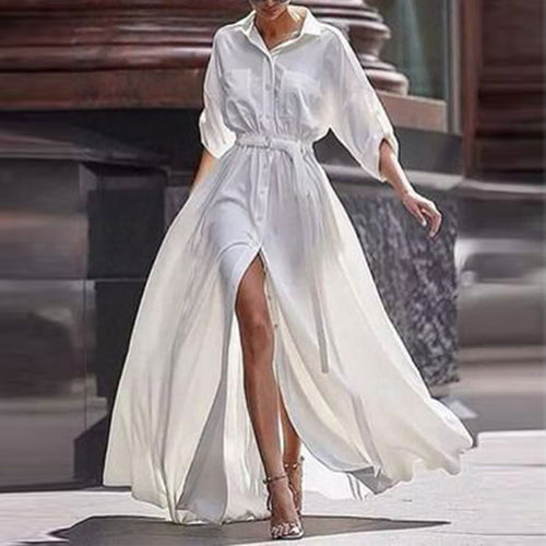 Button Down Collar  Roll Up Sleeve Half Sleeve Maxi Dresses