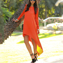 Casual Round Collar Pure Color Irregular Vacation Dress