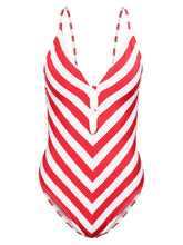 Deep V-Neck  Color Block Striped One Piece