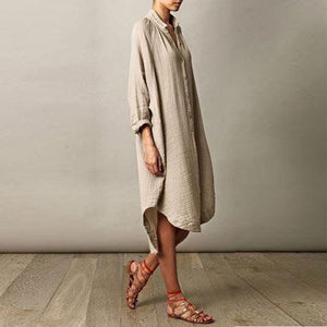 Deep V-Neck Roll-Up Sleeve Casual Dresses