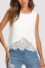 Crew Neck  Decorative Lace  Plain  Vests