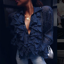 Deep V-Neck Polka Dot Blouse