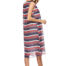 Deep V Neck Stripes Printed Sleeveless Dress
