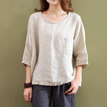 Cotton And Linen Round Collar  Pure Color T-Shirt