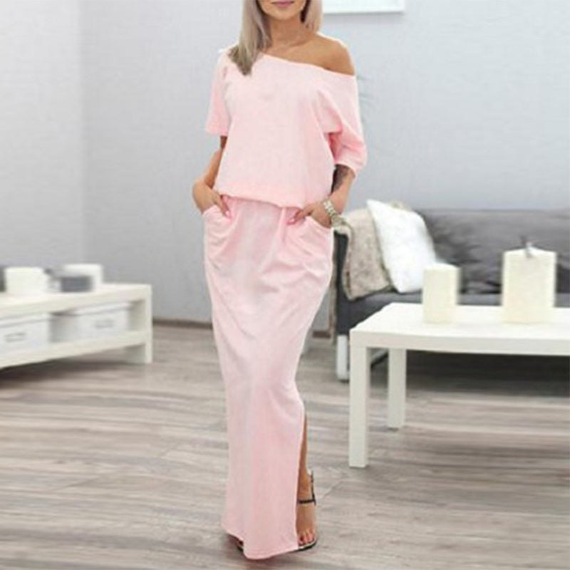Asymmetric Neck  Elastic Waist Side Slit  Plain Maxi Dress