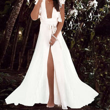 Deep V-Neck Lace Sleeves High-Waist Chiffon Vacation Maxi Dress