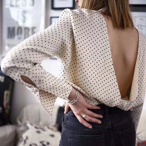 Backless Long Sleeve Elegant Polka Dots Blouse