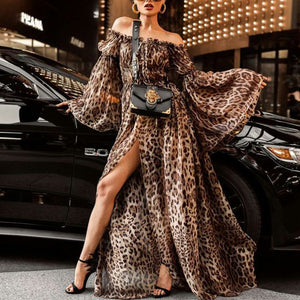 Off Shoulder Sexy Leopard Printed Flare Sleeve Maxi Dress