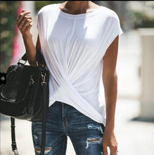 Round Neck Sleeveless Plain Cross Casual T-Shirt