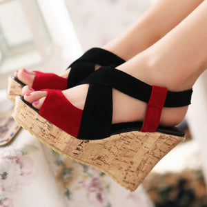 Color Block  High Heeled  Velvet  Ankle Strap  Peep Toe  Casual Date Wedge Sandals