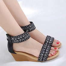 Bohemian  High Heeled  Ankle Strap  Peep Toe  Date Wedge Sandals